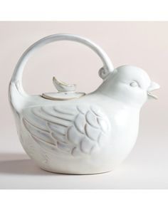 How cute is this bird teapot? We love the white glaze finish. Get it here: http://www.bhg.com/shop/world-market-bird-teapot-p5005937782a75e55847cc0af.html