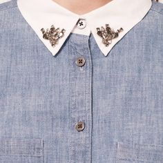 Chambray shirt with jeweled collar This LOFT shirt is a chic update to the classic chambray shirt - featured a bejeweled white collar - great condition LOFT Tops Button Down Shirts