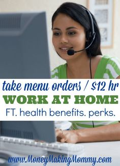 Take Menu Orders from Home at $12 an Hour!