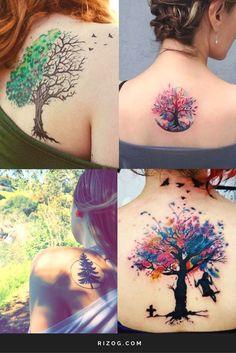 28 New Ideas nature tattoo tree feminine Tattoo Life, Rose Tattoos, Body Art Tattoos, Trendy Tattoos, Small Tattoos, Couple Tattoos, Tattoos For Guys, Watercolor Tattoo Tree, Natur Tattoos