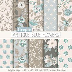 "Floral digital paper: ""ANTIQUE BLUE FLOWERS"" vintage flowers, hand drawn, patterns, floral background, blue, brown, flower pattern, pale"