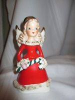 Vtg Ucagco Red Dress w/Gold Spaghetti Trim Angel Bell Holding Candy Cane