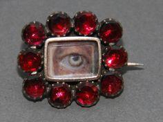 Georgian Lover's Eye Miniature Brooch