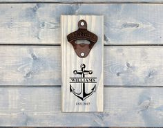 Personalized Wall Bottle Opener, Wall Beer Opener, Wall Bottle Opener, Bottle Opener, Beer Opener, Groomsmen, Nautical, Anchor, Last Name