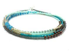 Multi strand seed bead bracelet wrap beaded bracelet by JewelRiot Beaded Wrap Bracelets, Seed Bead Bracelets, Seed Bead Jewelry, Boho Jewelry, Seed Beads, Beaded Jewelry, Beaded Necklace, Turquoise Jewelry, Turquoise Bracelet