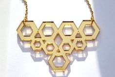 Gold Geometric Necklace Cyber Monday Sale  Laser Cut Mirror Acrylic Perspex on Plated Gold Chain Hexagons