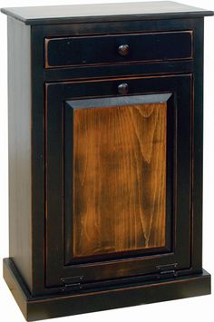 Trash Bin with Drawer painted in Primitive Farmhouse Cherry- made by the Amish? Yes, Please!