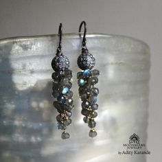 Moonbeams Jewelry by Adity Karande.  Handmade Earrings, Pave Diamond Bead, Labradorite, Silver, Gold