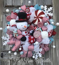 Snowman Wreath, Whimsy Wonderland Reserved for FARMLIFE Thank You So Much ❤️