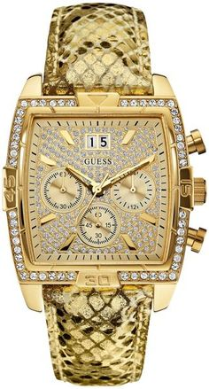 Guess Womens Chronograph Goldtone Pythonembossed Leather Strap Watch 40x39mm - Lyst♥✤ | KeepSmiling | BeStayClassy