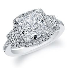 Certified Cushion Cut Diamond Engagement Ring Halo Style 3.25ctw 18k White Gold #HellzenburgDiamondCo #SolitairewithAccents