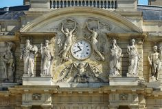Palais Du Luxembourg Clock and its Statues, Paris. Palais Du Luxembourg, Luxembourg Gardens, Public Garden, Day For Night, Beautiful Architecture, Facade, Statues, Clock, Garlands