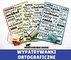 Wypatrywanki ortograficzne Teacher, Education, Children, School, Origami, Therapy, Historia, Young Children, Professor