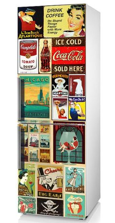 Fridge decal, Fridge decal Retro, Refrigerator Decal, Vintage Fridge Decals, Fridge Decal, Vinyl Decal, Self-Adhesive Refrigerator Decal