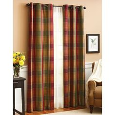 "Online $19.97 ea panel.Better Homes and Gardens Plaid Window Panel  50"" x 84"" other 2 windows option"