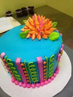 Cake Pictures, Cake Pics, Fiesta Cake, New Cake, Bakery Cakes, Colorful Cakes, Small Cake, Floral Cake, Round Cakes
