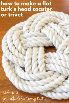 If you've ever been curious how to make a Flat Turk's Head Knot for a coaster or trivet, then pop on over! No Knotting Experience Required! Video, Printable Template and Step-by-Step Instructions. A fun DIY idea that also makes a great handmade gift! Rope Crafts, Easy Diy Crafts, Diy Crafts To Sell, Diy Crafts For Kids, Fun Diy, Easy Knitting Projects, Yarn Projects, Quilting Projects, Doily Patterns