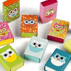 I'm thinking juice box wrap for owl themed birthday Owl Crafts, Diy And Crafts, Arts And Crafts, Paper Crafts, Matchbox Crafts, Matchbox Art, Diy For Kids, Crafts For Kids, Diy Box