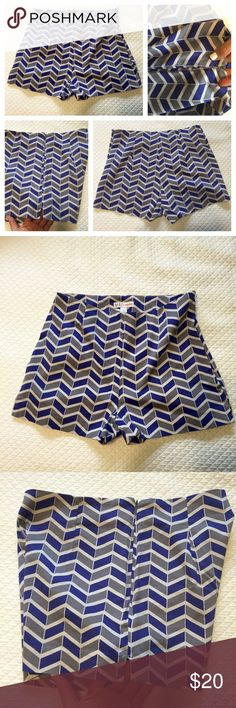 "Made Fashion Week for Impulse Shorts Purchased at Macy's. Size 6, medium to high waist, 1.5-2"" Inseam. Soft and light weight yet structured. Super comfy, wore once but no longer fit me. Side zip. Blue gray and white chevron print  *** Also selling on ♏️ercari** MADE Fashion Week for Impulse Shorts"
