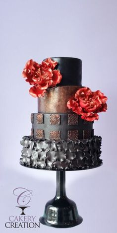 Cakery Creation designed this fun cake for the release of my new Wedding Bell Black Tie Affair cake stand. I love how imposing this cake looks atop the this 10 inch tall carbon steel cake stand. #cake #stand #wedding #bell