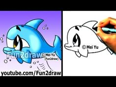 How to Draw a Cartoon Dolphin in 2 min - Cute Drawings - Easy Drawings - Fun2draw - YouTube
