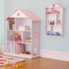I would love some sort of dollhouse bookcase like this. Dollhouse Bookcase, Diy Dollhouse, Girl Bedroom Designs, Girls Bedroom, Doll House Plans, Barbie Doll House, Room Shelves, Kids Room Design, Little Girl Rooms