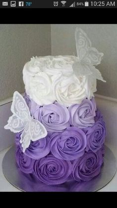 Purple ombre cake/butterflies/roses