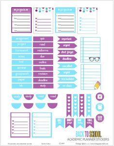 Back to School  Planner Stickers   Free Printable Download
