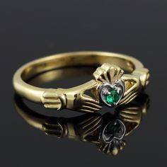 GOLD JEWELRY USA - Dainty Gold Claddagh Promise Ring with Emerald, $150.00 (http://www.goldjewelryusa.com/claddagh-rings/dainty-gold-claddagh-emerald.html)