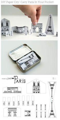 Your Pocket DIY Paper City Paris via Made by Joel - carry Paris in your pocket!DIY Paper City Paris via Made by Joel - carry Paris in your pocket! Paper Art, Paper Crafts, Diy Crafts, Little Presents, Altoids Tins, Diy Papier, Paris Party, Ideias Diy, Thinking Day