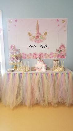 Ideas For Baby Shower Ideas For Girls Themes Tutus Tulle Table Tulle Table Skirt, Tutu Table, Skirt Tulle, Unicorn Themed Birthday Party, Girl First Birthday, Unicorn Birthday Parties, Baby Girl Birthday Decorations, Unicorn Baby Shower Decorations, Birthday Ideas