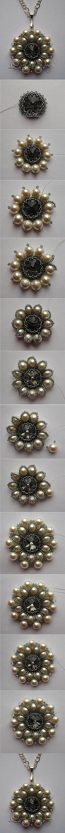 pendente firmato LENA BERG Minta Rivoli da 16 mm - perle 8 mm - delica - rocaille e Seed Bead Jewelry, Wire Jewelry, Jewelry Crafts, Beaded Jewelry, Handmade Jewelry, Jewelry Roll, Bead Jewellery, Seed Beads, Diy Schmuck