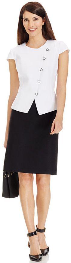 Tahari ASL Petite Asymmetrical Colorblocked Skirt Suit