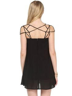 Sheinside Women's Black Girl Cut Out Shift Chiffon Mini Dress.  This mini dress is perfect for summer. It is designed with hollow at the top. Super unique and cool design. You would look sexy and classy in this beautiful dress. Design by Sheinsider