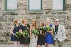 bridal party in blue