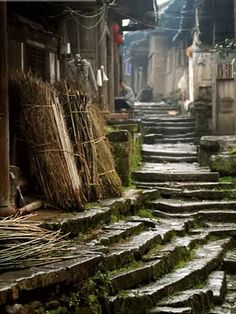 old stone alley in ancient town of Wangyu, China China Architecture, Ancient Architecture, Beijing, China People, Foto Art, Stairway To Heaven, Ancient China, China Travel, Stairways