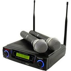 Wireless Professional UHF Dual Channel Microphone System With 2 Microphones