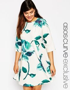 ASOS Curve | ASOS CURVE Exclusive Swing Dress With Mono Border Floral at ASOS