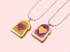 Peanut Butter and Jelly Best Friends Jewelry Set of 2 Necklaces - Miniature Kawaii Heart Necklaces via Etsy