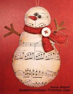 Snowman out of old music paper. Would love this for gift tags. Snowman out of old music paper. Would love this for gift tags. Sheet Music Crafts, Music Paper, Sheet Music Art, Noel Christmas, Handmade Christmas, Music Christmas Ornaments, Diy Christmas Tags, Christmas Fireplace, Family Christmas