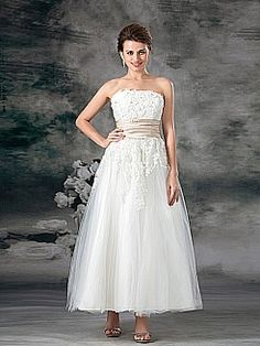 Strapless Tulle over Satin Ankle Length A Line Wedding Dress with Applique and Sash - SGD S$186.04