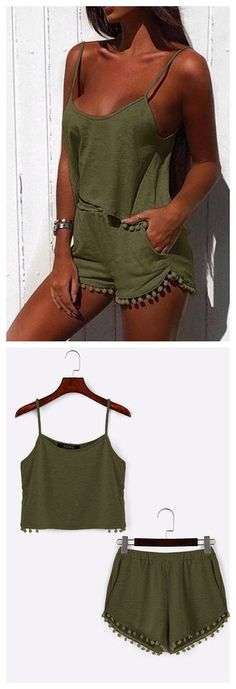 Armygreen Casual Sport Sleeveless Top and Elastic Waist Short Co-ord with Pom Pom Details US$15.95