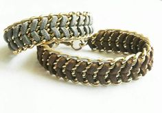 Faux Suede Gold Chain Bracelet Golden Brown or by Jadorenakit
