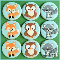 Woodland Animal Cookies, Fox, Owl and Raccoon (quantity: 12), birthday or baby…