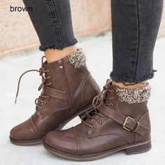 fcb658b4731b Women Beautiful Knitted Buckle Boots Combat Lace-Up Plus Size Boots –  Mollyca. Betty Hutchens