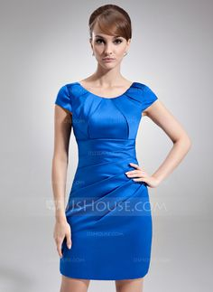 Mother of the Bride Dresses - $127.99 - Sheath/Column Scoop Neck Short/Mini Satin Mother of the Bride Dress With Ruffle (008006570) http://jjshouse.com/Sheath-Column-Scoop-Neck-Short-Mini-Satin-Mother-Of-The-Bride-Dress-With-Ruffle-008006570-g6570?snsref=pt&utm_content=pt