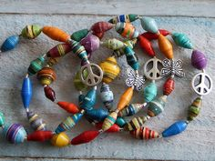 Paper Beads Stretch Bracelet Peace Butterfly by SeagrassJewelry