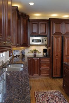 Modern Kitchen Design from ordinary to opulent a full kitchen renovation before amp after, home improvement, kitchen design, kitchen island - . Walnut Kitchen Cabinets, Brown Cabinets, Kitchen Countertops, Maple Cabinets, Dark Counters, Kitchens With Cherry Cabinets, Kitchen Backsplash, Dark Granite Kitchen, Brown Granite Countertops