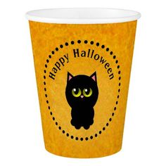 Halloween Black cat Paper Cup - home gifts ideas decor special unique custom individual customized individualized