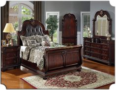 Beau King Size Sleigh Bedroom Sets | Sleigh Bedroom Furniture Set With Leather  Headboard Tdc0000119 Sleigh .